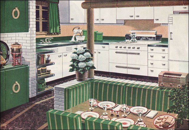 brick walls + banquette + green credenza with upper cabinets and brass ring pulls (1947)