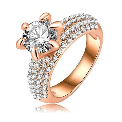 Aooaz Schmuck Damen Ring,18K Gold Vergoldete Dreifach Linie Ehering Verlobungsringe Rose Gold Weiß Gold