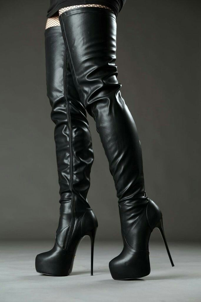 d3b06a925eb Black platform stiletto thigh boots | Knee Boots | High leather ...