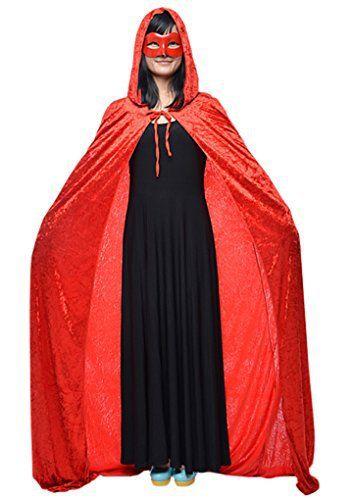 Halloween Cape à Capuche Poncho avec Capuchon Longue Costume Cosplay Sorcière Diable Robe Médiévale Manteau Homme Femme Unisexe Déguisement…