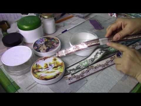 Превращаем баночки от крема в шкатулочки ХоббиМарект - YouTube