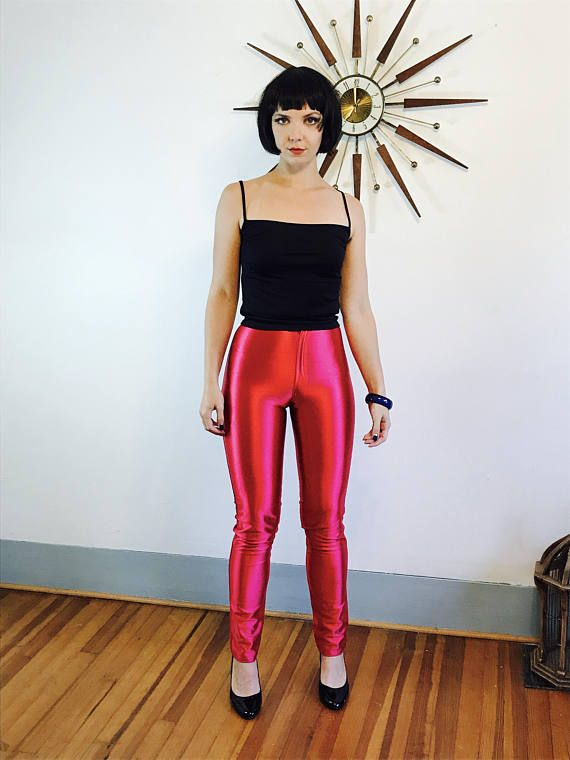 70s Spandex Disco Pants Hot Pink Disco Jeans Skin Tight