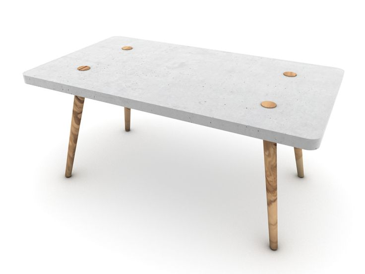 Dining Table, Tabletop Made Of Concrete, With Legs Made Of Chestnut Wood,  160