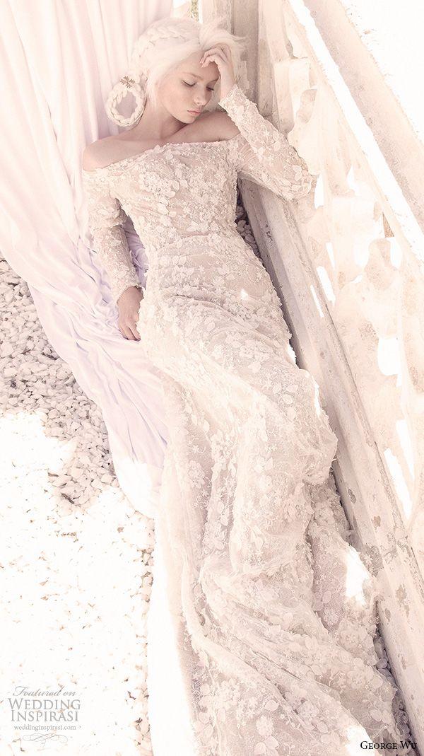 george wu 2016 bridal gowns long sleeves off the shoulder neckline fully embellished lace elegant romantic sheath wedding dress (saffira) mv