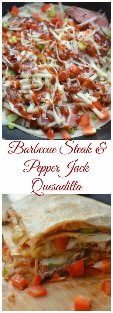 This Barbecue Steak and Pepper Jack Quesadilla is bursting with steak, red peppers, green onions, pepper jack cheese and just a smidgen of Kansas City style barbecue sauce.