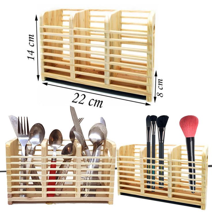 BAMBOO CUTLERY HOLDER STORAGE KITCHEN UTENSIL RACK DRAINER STAND SINK TIDY CADDY