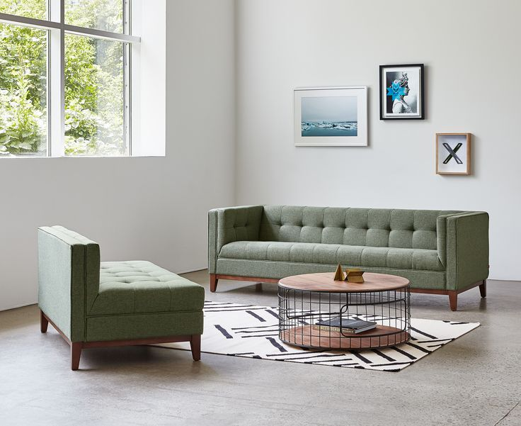 Atwood Bisectional - Parliament Moss, Hatch Contrast Rug & Wireframe Coffee Table | Gus* Modern