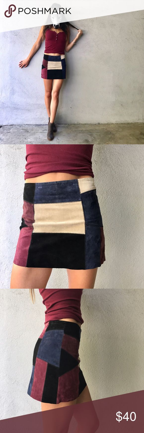 "Zara patchwork skirt! Zara suede patchwork skirt! So friggin adorable and I'm on the fence about selling it. Size small. Waist 13"" laying flat, 13.5"" length. Hurry before I change my mind... 😜 Zara Skirts Mini"