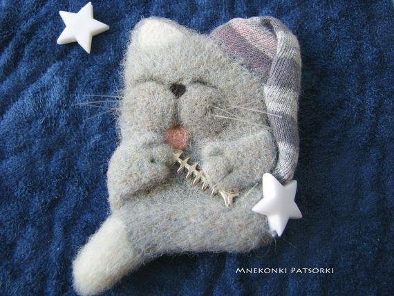 Handmade Brooch Needle Felting Sleeping Kitten Made to Order