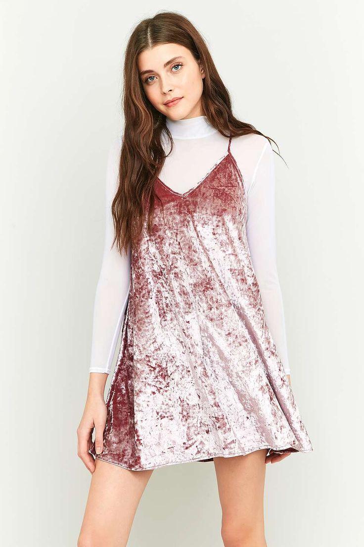 White t shirt dress outfit - Pins Needles V Neck Velvet Slip Dress