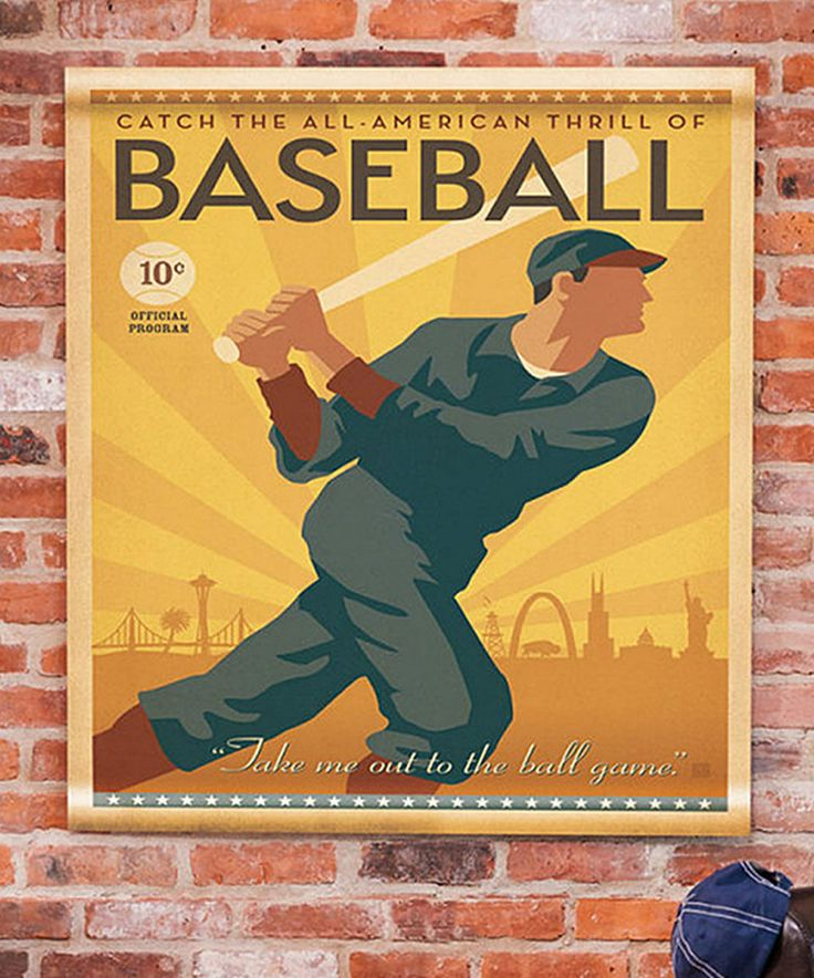 This Baseball Canvas Wall Tapestry by Evergreen is perfect! #zulilyfinds