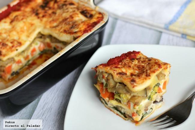 Lasaña Vegetariana De Verduras. http://www.directoalpaladar.com/recetas-de-pasta/receta-de-lasana-vegetariana-de-verduras