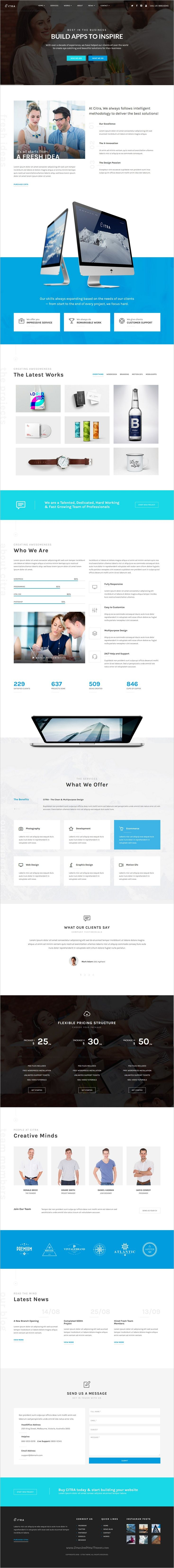 CITRA is a modern, unique and responsive Bootstrap #HTML template for corporate, #design agency or #freelancers portfolio websites download now➩ https://themeforest.net/item/citra-html-responsive-multipurpose-template/18948654?ref=Datasata