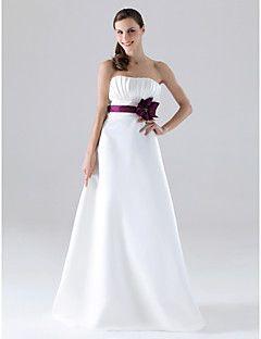 Lanting Bride® Longueur Sol Satin Robe de Demoiselle d'Honneur - Trapèze / Princesse Sans Bretelles Grande Taille / Petite avecBoutons /