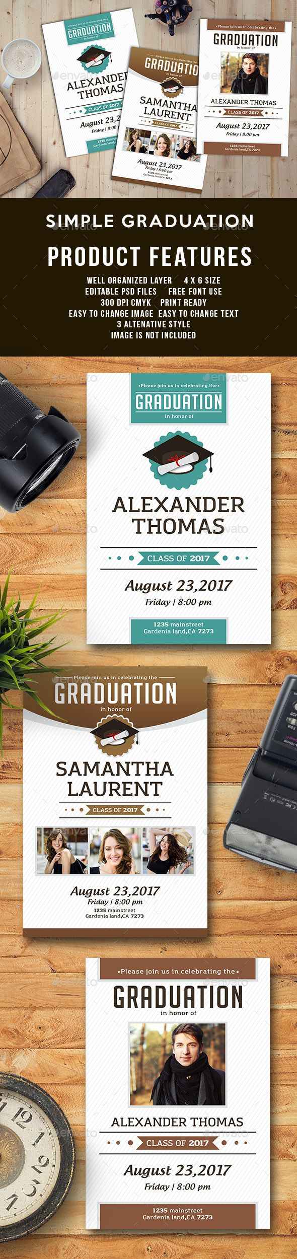 Simple Graduation Template — Photoshop PSD #tan #invite • Available here → https://graphicriver.net/item/simple-graduation-template/19208647?ref=pxcr