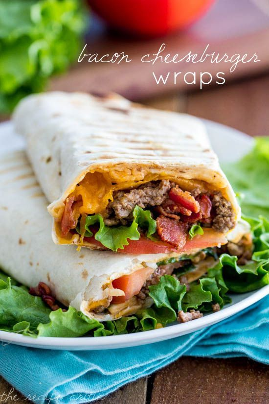 Bacon Cheeseburger Wraps * I know it's a board about sweets but this is perfect!!!!!!!!!!!!!!!!!!