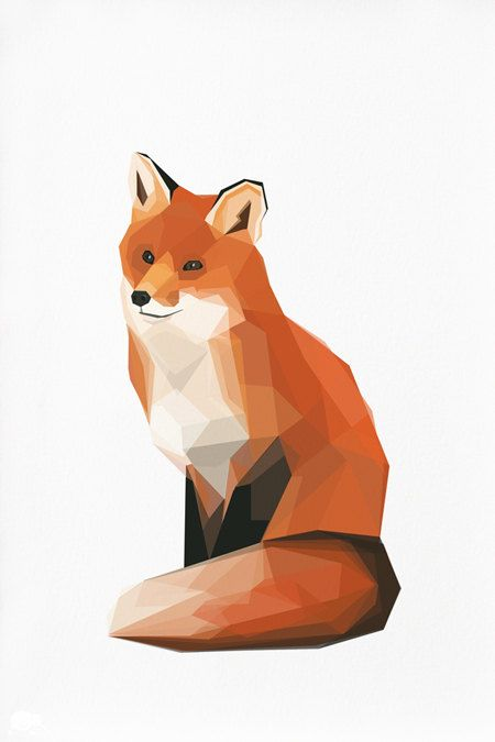 Do something similar for a painting? // Geometric illustration Fox Animal print by TinyKiwiCreations