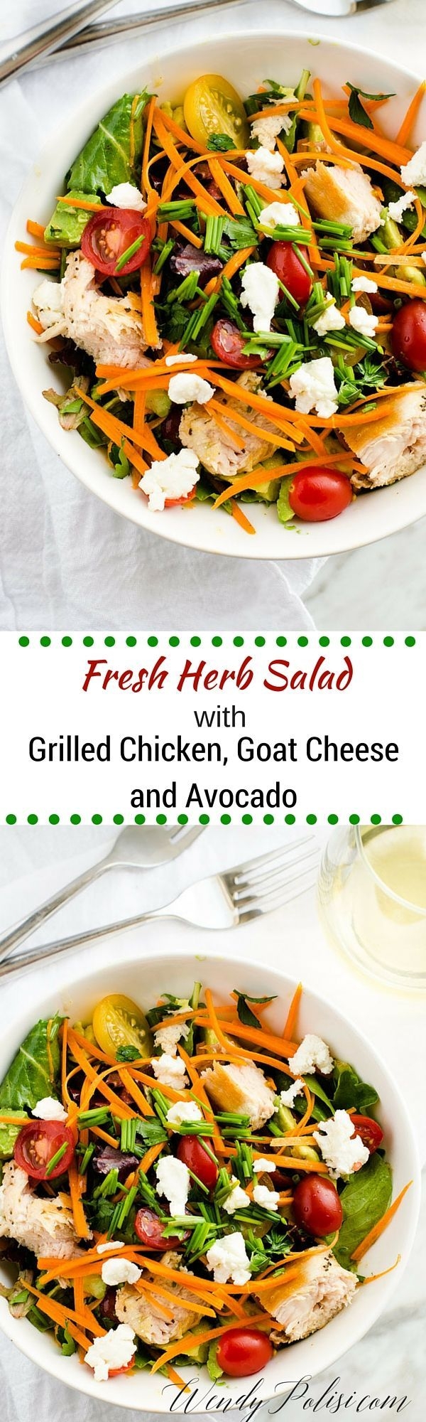 Fresh Herb Salad with Grilled Chicken, Goat Cheese &  Avocado - This Fresh Herb Salad with Grilled Chicken, Goat Cheese & Avocado is the perfect spring or summer meal!  Paired with a great bottle of wine, like Sequoia Grove Chardonnay, you have all the makings for a memorable evening. via @wendypolisi