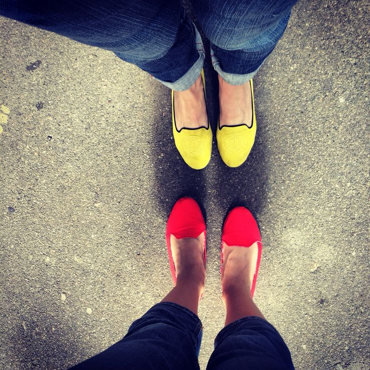 Red yellow shoes legs summer