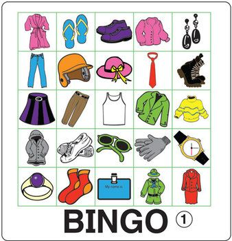 Bingo isn't just for special occasions! Think of Bingo as a lesson review disguised as a game!  Clothing Bingo is a fun way to introduce or review clothing vocabulary.