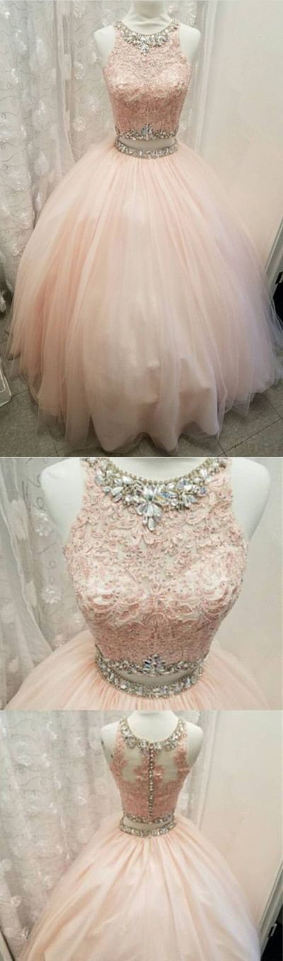Elegant Lace Crop Top Pink Tulle Ball Gown Quinceanera Dresses Two Piece,296