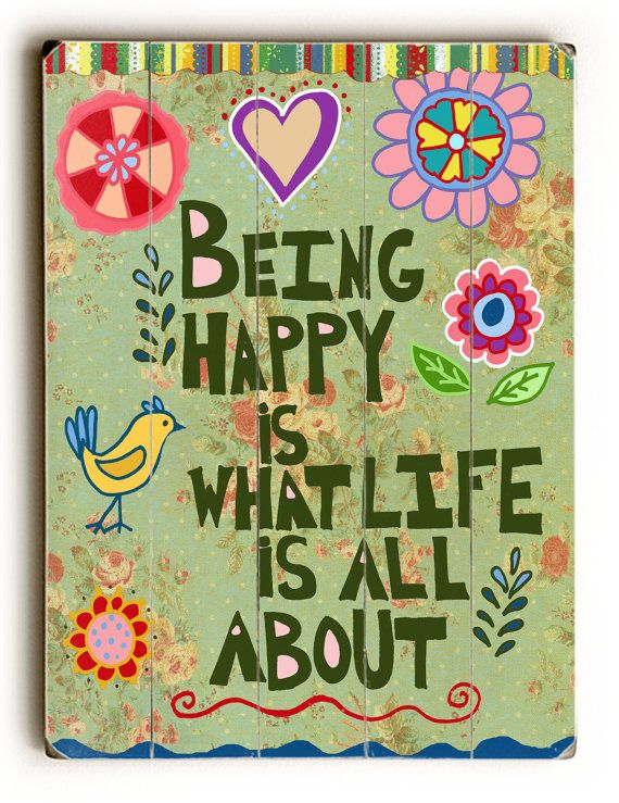 Being Happy Planked Wood Wall Art Inspirational by BethNadlerArt