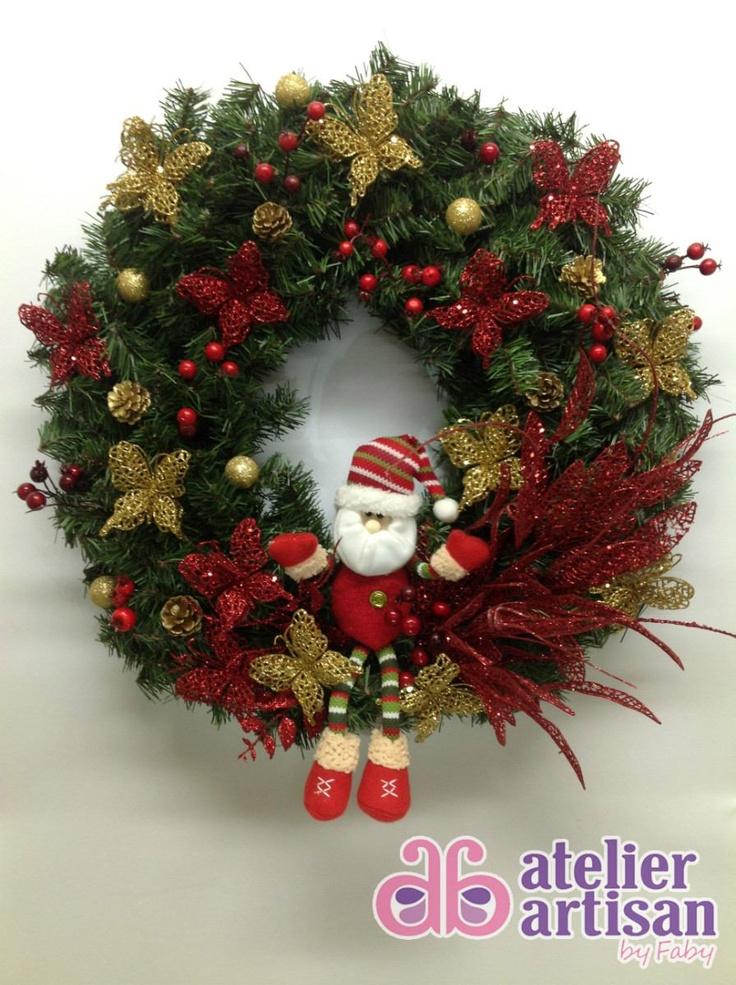 Guirlanda De Natal Com Papai Noel E Borboletas