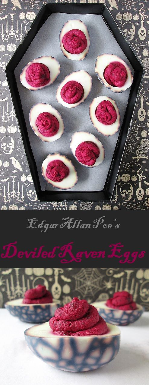 "Happy October, folks! Since Halloween is just around the corner, I decided to do a spooky literary menu in honor of the season. Our theme this month is Edgar Allen Poe! For our appetizer, we're starting with a tribute to Poe's famous poem, The Raven. These deviled ""raven eggs"" are a Halloween-y variation … … Continue reading →"