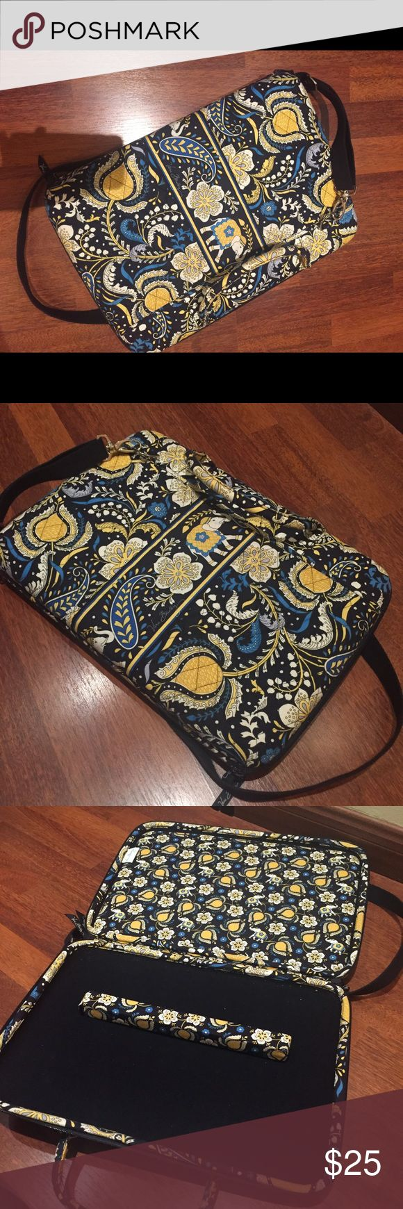 """Vera Bradley laptop bag (attaché) with strap Hard bag perfect for travel comes with strap. 15.5"""" W x 11"""" H x 1.75"""" D, barely used Vera Bradley Bags Laptop Bags"""