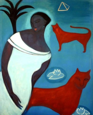 Aida, opera de Verdi, Blue painting, red lions, acrilyc  on canvas