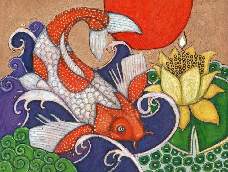 569 best design fish sea animals images on pinterest for Japanese koi fish artwork