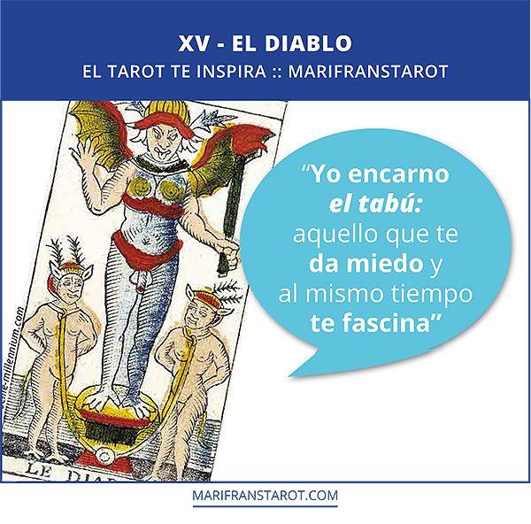 """""""Yo encarno  el tabú: aquello que te  da miedo y  al mismo tiempo  te fascina"""" #Tarot #inspirationTarot #learntarot #aprendeTarot"""