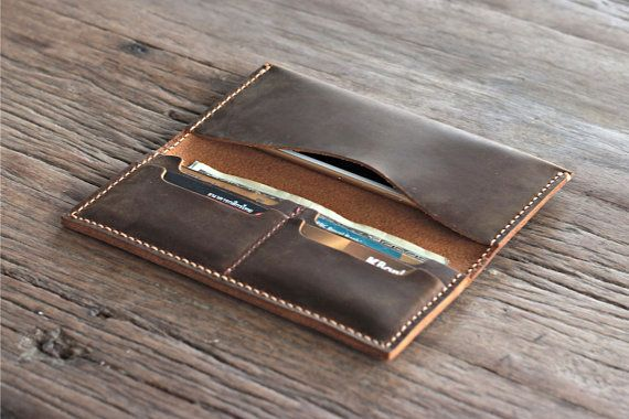 Leather iPhone 6 PLUS Wallet Clutch Case Rustic Signature Hand-Stitching by JooJoobs [065]