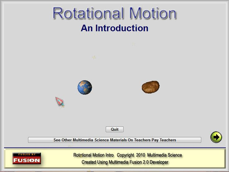 ROTATIONAL MOTION LECTURE SOFTWARE Rotational Motion is a software based lecture aid covering the following: the definition of radians and the conversion to degrees, the derivation and definition of angular velocity and angular acceleration, and the similarity of the linear and rotation motion equations. The lecture screens are set up in a step by step fashion and there are a number of simulations to help illustrate the fact that many of the variables are related.