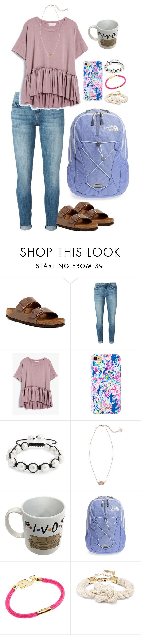 """Supe-tember"" by mirandamf on Polyvore featuring Birkenstock, Current/Elliott, Lilly Pulitzer, Bling Jewelry, Kendra Scott, The North Face and Vineyard Vines"
