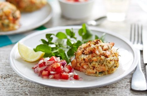 These tasty salmon and prawn fishcakes are ideal for a mid-week meal with friends. Make them in advance and store in the fridge until you're ready to get cooking. Find more meal inspiration at Tesco Real Food.