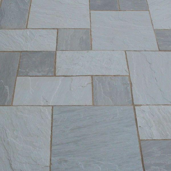 PATH STONE Kandla Grey Indian Sandstone Tumbled Calibrated Patio Paving Slabs Pack 18.5m2 22mm