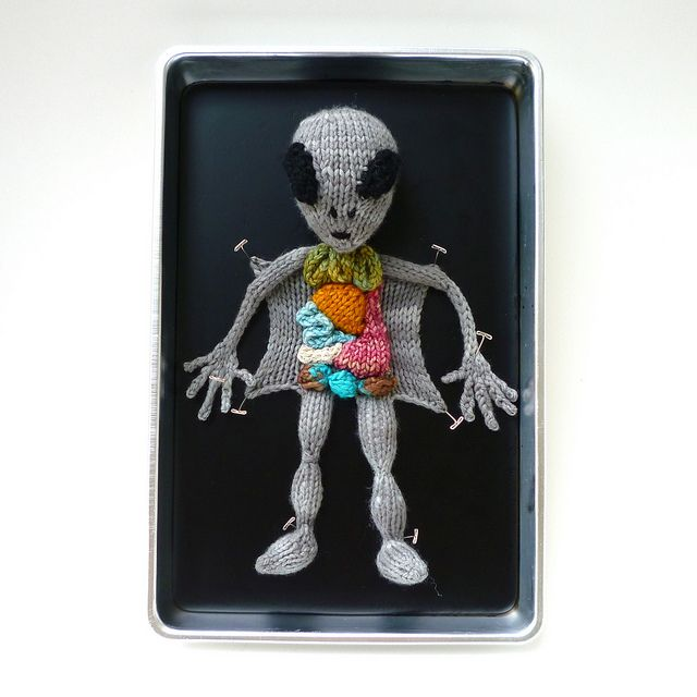 knitted alien autopsy!Knits Aliens, Stuff, Crochet, Art, Aliens Autopsy, Emily Stoneking, Autopsy Pattern, Crafts, Knits Needle