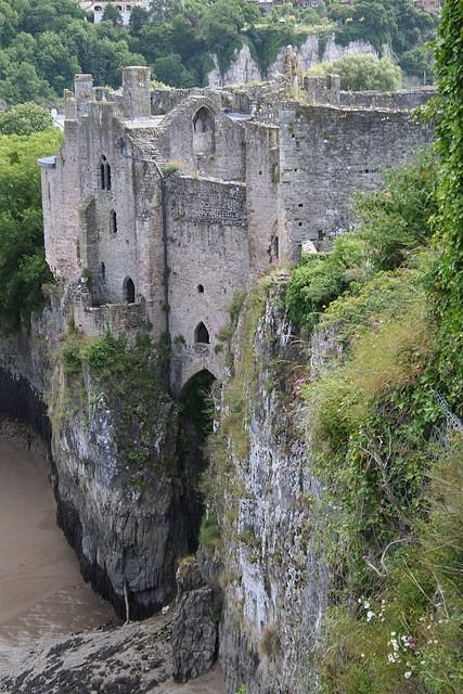 The Chepstow Castle ruins in Monmouthshire, Wales, on top of cliffs overlooking the River Wye, is the oldest surviving post-Roman stone fortification in Britain.