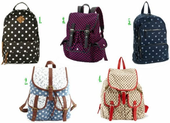 Polka dot backpacks