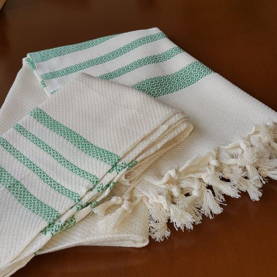 Check out this item in my Etsy shop https://www.etsy.com/listing/474203945/green-striped-towel-set-decorative-bath