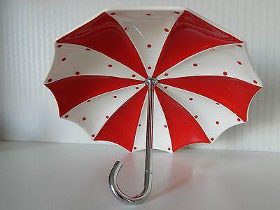 Vintage Midwinter Fashion Red Domino Polka Dot Bonbon Dish Parasol Umbrella