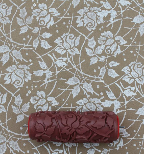 Patterned Paint Roller In Sweet Sea Roses Design By