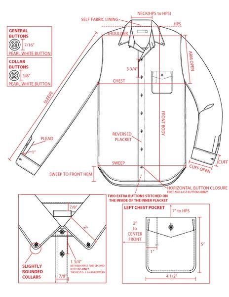 Men's shirt tech sketch