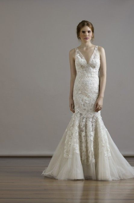 Liancarlo Style 6811 Macrame Embroidery On French Tulle V Neck Sheath Gown With Illusion V Back