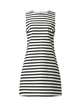 Wear this White Stripe Print Sleeveless Dress with a blazer for work and a denim jacket at the weekend.