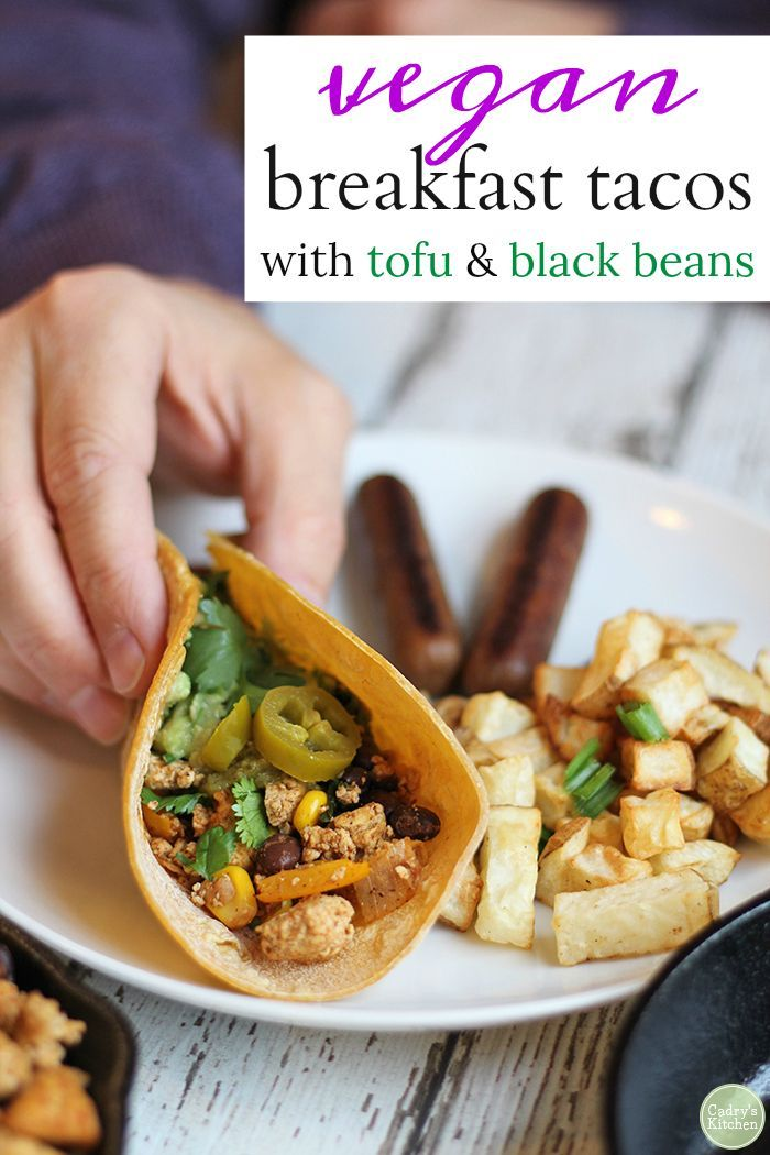 Vegan Breakfast Tacos Are Loaded With Seasoned Tofu Black Beans Corn Bell Peppers Onions And Garlic Vegan Glute Breakfast Tacos Recipes Vegan Breakfast