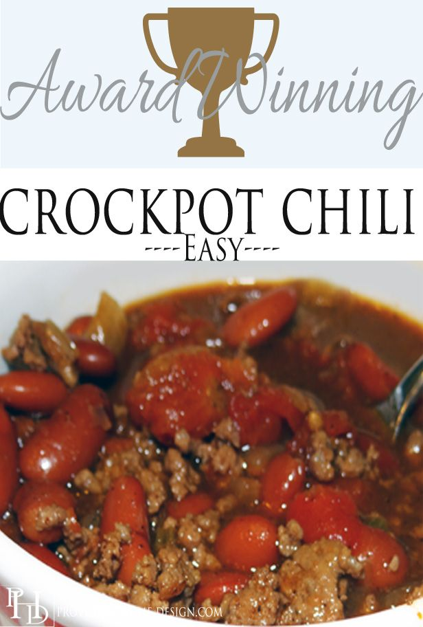 Award Winning Crockpot Chili!  Super easy and delicious!!  This will be a new family favorite recipe for sure