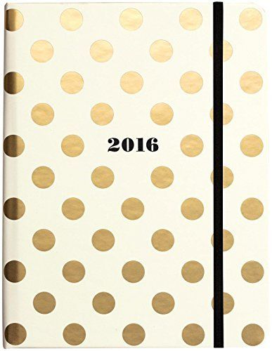 kate spade new york Medium 17 Month Covered Spiral Agenda, Gold Dots by kate spade new york