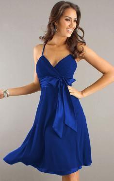 Blue Flowy Knee Length Dress Other dresses dressesss 6be647045989